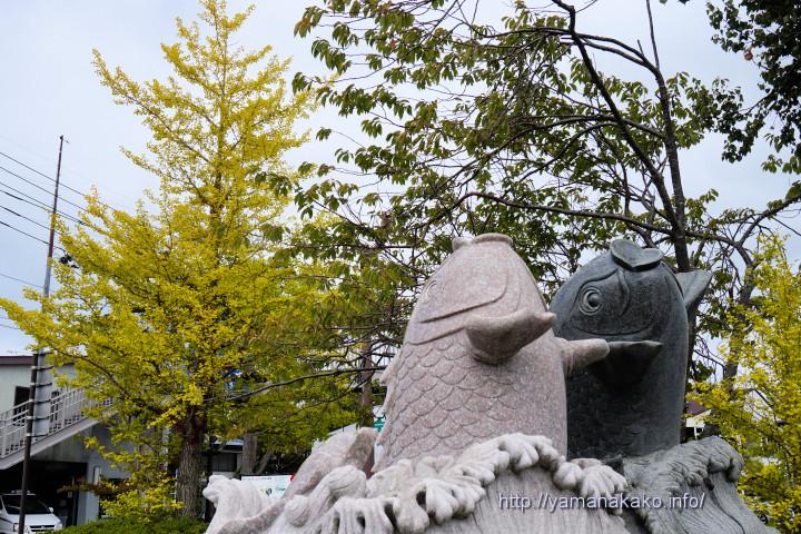 鯉の碑モニュメントと銀杏