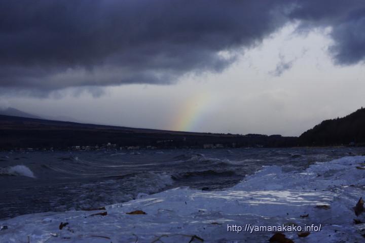 岸に残った氷と虹