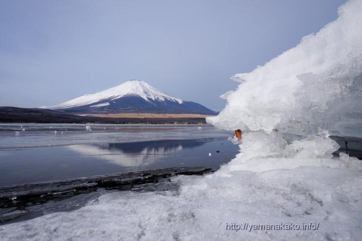 打ち上げられた氷の横から逆さ富士