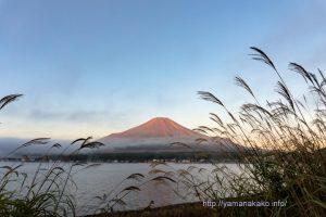 秋の朝の富士山