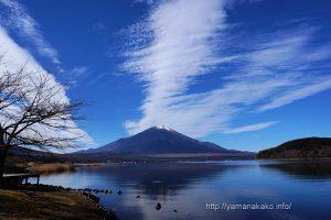 青い空と白い雲の下に富士山